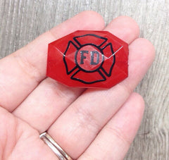 Firefighter Cross on Faceted, red beads - jewelry making, bangle bracelet, gift, handmade beads - 35x24mm - Swoon & Shimmer - 2