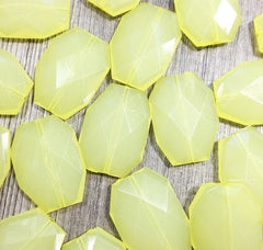 35x24mm Lemon Yellow Large faceted acrylic nugget beads - jewelry making supplies - Swoon & Shimmer - 2