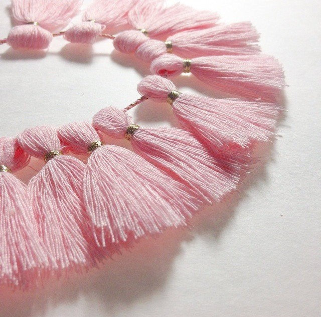Light Pink with Gold Tassel for Jewelry Making - Necklaces, Bracelets, or Earrings! 2 Inch Size - Swoon & Shimmer - 1