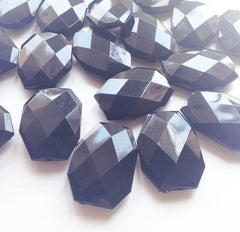 35x24mm Black Large faceted acrylic nugget beads - beads for jewelry making - Swoon & Shimmer - 2