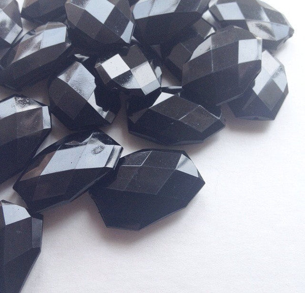 35x24mm Black Large faceted acrylic nugget beads - beads for jewelry making - Swoon & Shimmer - 1