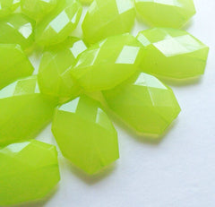 34x24mm Kiwi Green Large faceted acrylic nugget beads - Swoon & Shimmer - 1