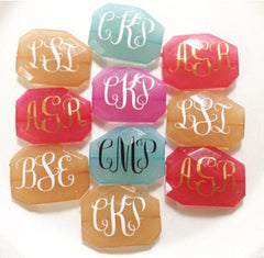 Metallic Three Letter Monogram Bead - Pick Your Colors! - Large Acrylic faceted bead for jewelry making - Swoon & Shimmer - 4