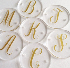 Circular Monogram Disc Beads - choose letter in gold or black - clear discs for bangle making with 2 holes cut out - 1.25 inches across - Swoon & Shimmer - 3