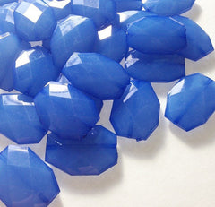 35x24mm Blue Denim Large faceted acrylic nugget beads - jewelry making supplies - Swoon & Shimmer - 1