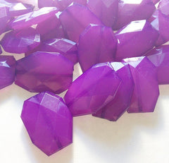 Deep Purple Slab Beads - Faceted nugget octagon beads - 35x24mm Beads - Swoon & Shimmer - 4