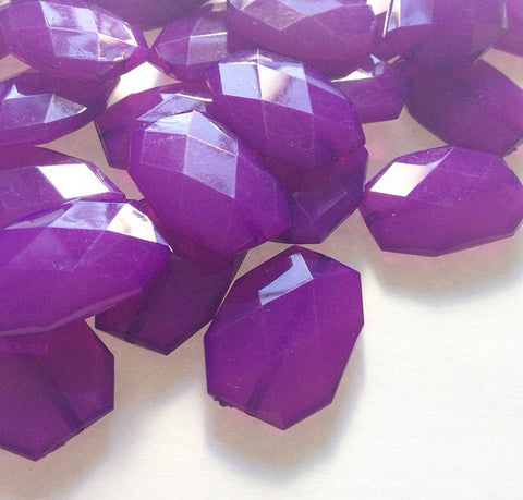 Deep Purple Slab Beads - Faceted nugget octagon beads - 35x24mm Beads - Swoon & Shimmer - 1