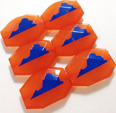 Virginia in Royal Blue on orange Beads - Faceted Nugget Bead - FLAT RATE SHIPPING 35mm x 24mm - Swoon & Shimmer - 3