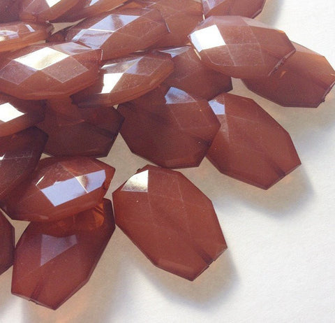 35x24mm Caramel Brown Large faceted acrylic nugget beads - jewelry making supplies - Swoon & Shimmer - 1