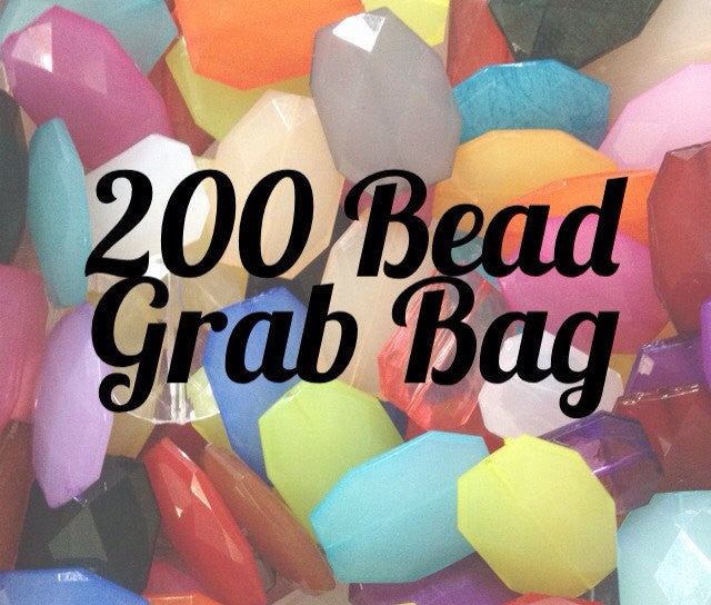 200 Bead Grab Bag! Large Faceted Slab Beads - 30 Color Choices - Flat Rate Shipping - Nugget Bead for bangles - Swoon & Shimmer