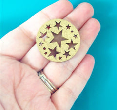 Bangle Bracelet Wood Charm - Gold Star Cutout - 1.25 inch disc - Swoon & Shimmer - 2