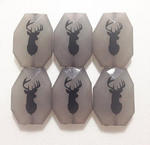 Black Deer Head on Gray Bead Bangle Beads! 35mm Faceted, Gorgeous Beads - Swoon & Shimmer - 1