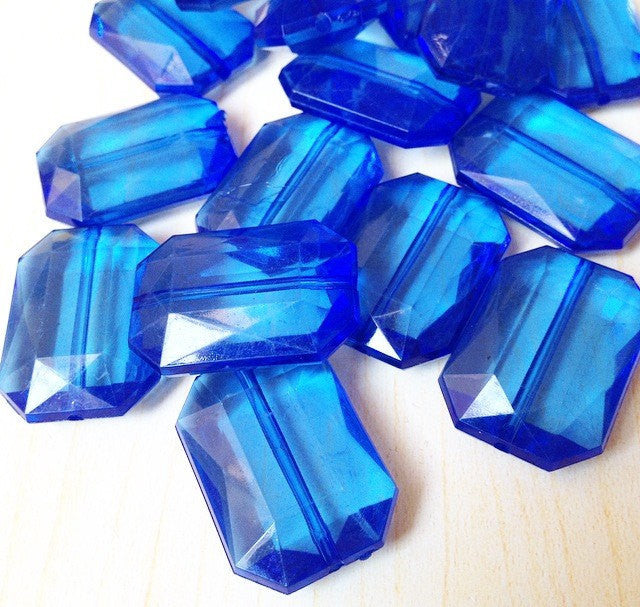 Royal Blue Large Translucent Beads - Faceted Nugget Bead - FLAT RATE SHIPPING 30mmx22mm - Swoon & Shimmer - 1