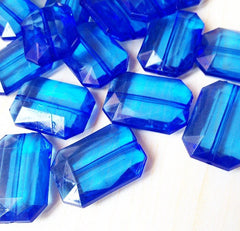 Royal Blue Large Translucent Beads - Faceted Nugget Bead - FLAT RATE SHIPPING 30mmx22mm - Swoon & Shimmer - 3