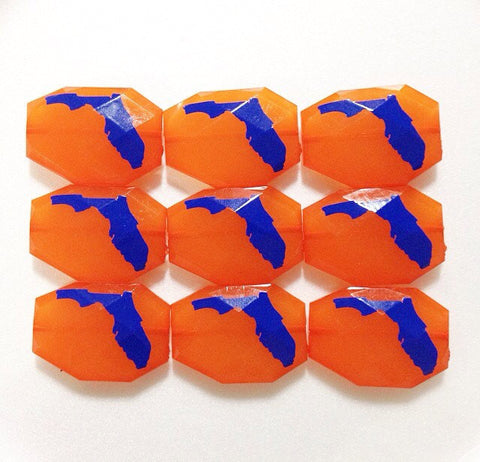 Florida in Blue on Orange Beads - Faceted Nugget Bead - FLAT RATE SHIPPING 35mm x 24mm - Swoon & Shimmer - 1