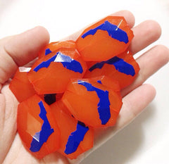 Florida in Blue on Orange Beads - Faceted Nugget Bead - FLAT RATE SHIPPING 35mm x 24mm - Swoon & Shimmer - 4