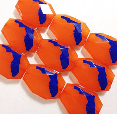 Florida in Blue on Orange Beads - Faceted Nugget Bead - FLAT RATE SHIPPING 35mm x 24mm - Swoon & Shimmer - 3
