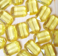 Bright Yellow Large Translucent Beads - Faceted Nugget Bead - FLAT RATE SHIPPING 30mmx22mm - Swoon & Shimmer - 3