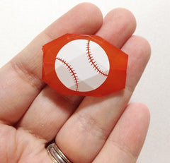 Baseball on your choice of bead color - jewelry making, bangle bracelet, gift, handmade beads - Swoon & Shimmer - 3