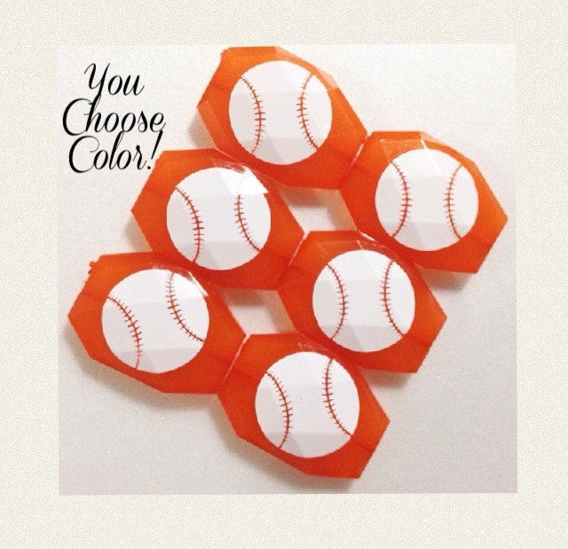 Baseball on your choice of bead color - jewelry making, bangle bracelet, gift, handmade beads - Swoon & Shimmer - 1