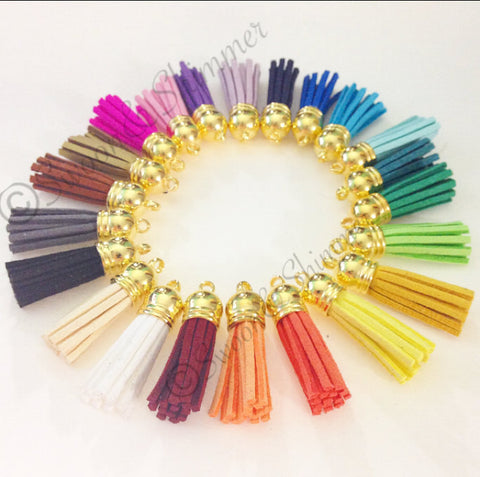Gold Capped Suede Tassels in 22 colors - Flat Rate shipping - Swoon & Shimmer - 1