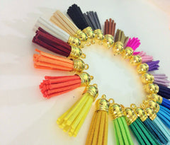 Gold Capped Suede Tassels in 22 colors - Flat Rate shipping - Swoon & Shimmer - 2