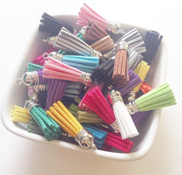 Silver Capped Suede Tassels in 22 colors - Flat Rate shipping - Swoon & Shimmer - 1