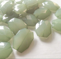 Cucumber Green Slab Beads - Faceted Nugget Bead - FLAT RATE SHIPPING 35mmx24mm - Swoon & Shimmer - 1