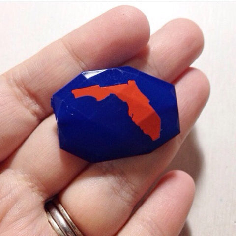 Florida in orange on blue Beads - Faceted Nugget Bead - FLAT RATE SHIPPING 35mm x 24mm - Swoon & Shimmer