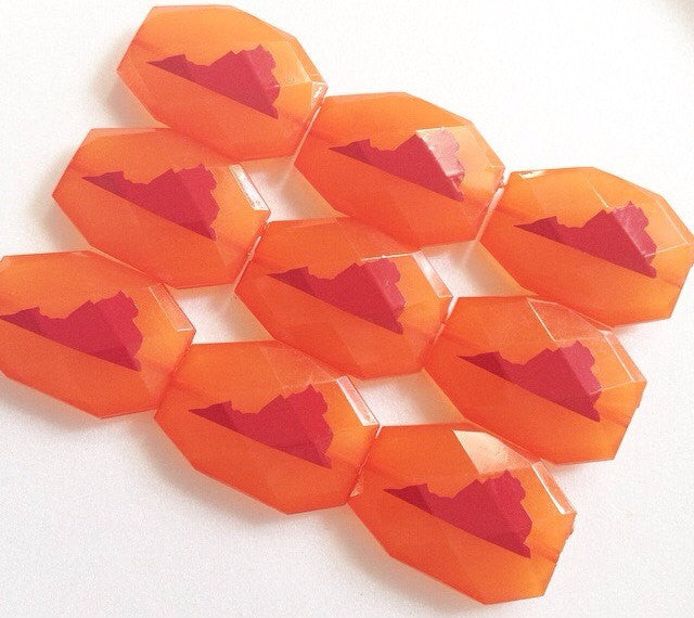 Virginia in maroon on Orange Beads - Faceted Nugget Bead - FLAT RATE SHIPPING 35mm x 24mm - Swoon & Shimmer - 1