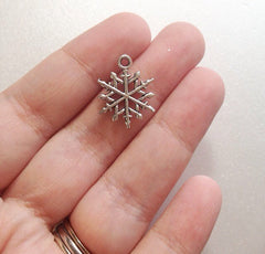 Silver Snowflake Charm for bracelets, necklaces, wine charms, bouquet charm - Christmas Jewelry - Swoon & Shimmer - 2
