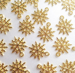 Gold Snowflake Charm for bracelets, necklaces, wine charms, bouquet charm - Christmas Jewelry