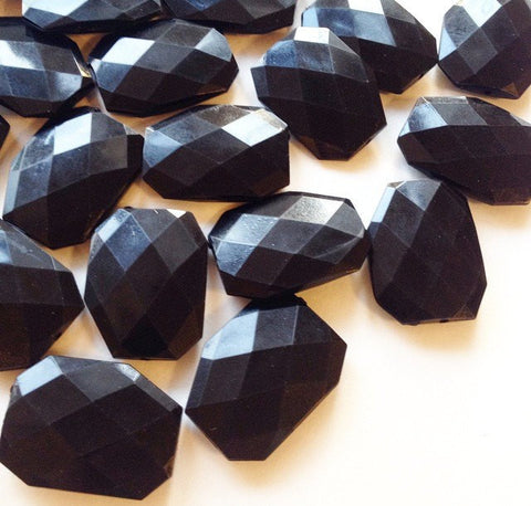 XL Black faceted beads - acrylic beads for jewelry making - 39mm size - Swoon & Shimmer - 1