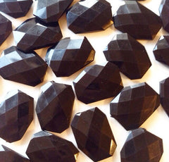 XL Black faceted beads - acrylic beads for jewelry making - 39mm size - Swoon & Shimmer - 2