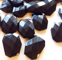 XL Black faceted beads - acrylic beads for jewelry making - 39mm size - Swoon & Shimmer - 4
