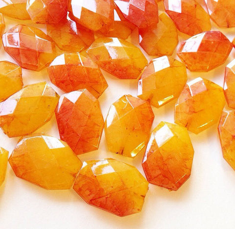 35x24mm Watercolor Juicy Nectarine Orange Slab Nugget Beads - Beads for Bangle Making or Jewelry Making - Swoon & Shimmer - 1