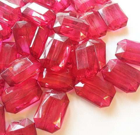 Cranberry Large Translucent Beads - Faceted Nugget Bead - FLAT RATE SHIPPING 30mmx22mm Maroon Marsala Garnet - Swoon & Shimmer - 1