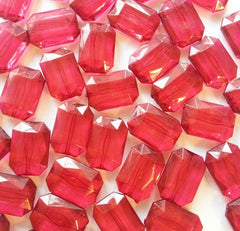 Cranberry Large Translucent Beads - Faceted Nugget Bead - FLAT RATE SHIPPING 30mmx22mm Maroon Marsala Garnet - Swoon & Shimmer - 2