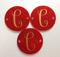 Circular Monogram Red Glitter Disc Beads - choose letter choice- discs for bangle making with 2 holes cut out - 1.25 inches across - Swoon & Shimmer - 2