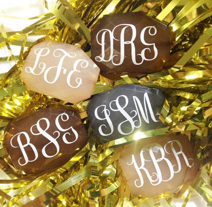 Three Letter Monogram Bead - Pick Your Colors! - Large Acrylic faceted bead for jewelry making - Swoon & Shimmer - 1