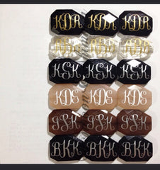 Three Letter Monogram Bead - Pick Your Colors! - Large Acrylic faceted bead for jewelry making - Swoon & Shimmer - 2