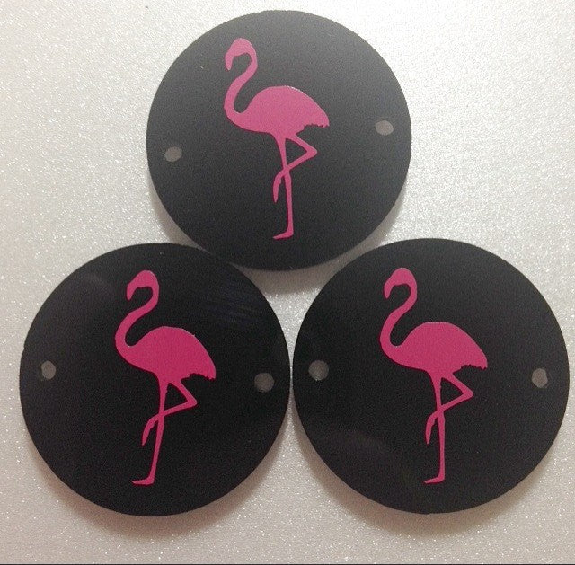 Pink Flamingo on Black 2 hole disc - jewelry making, bangle bracelet, gift, handmade beads - 1.25 inch size - Swoon & Shimmer - 1