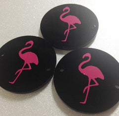 Pink Flamingo on Black 2 hole disc - jewelry making, bangle bracelet, gift, handmade beads - 1.25 inch size - Swoon & Shimmer - 3
