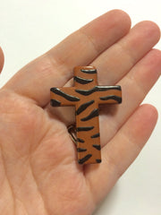 Animal Print Cross Beads -FLAT RATE SHIPPING - 1.75 x 1.3 inches - Bangle Necklace Bracelet Earring Beads - brown and black beads - Swoon & Shimmer - 3