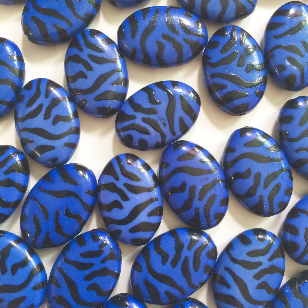 Blue and Black Animal Print Nugget Bead - FLAT RATE SHIPPING 28mmx20mm - Swoon & Shimmer - 1