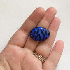 Blue and Black Animal Print Nugget Bead - FLAT RATE SHIPPING 28mmx20mm - Swoon & Shimmer - 3
