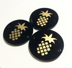 "Golden Pineapple on Black Discs - Pick your disc color choice - 1.25"" bead - bangle bead jewelry making - Swoon & Shimmer - 1"