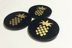 "Golden Pineapple on Black Discs - Pick your disc color choice - 1.25"" bead - bangle bead jewelry making - Swoon & Shimmer - 2"