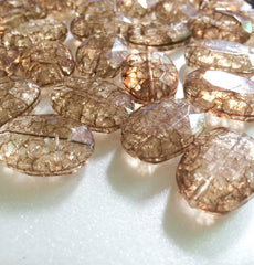 Chocolate Dinosaur Egg oval faceted acrylic nugget beads - Swoon & Shimmer - 5