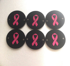 Pink Breast Cancer Awareness ribbons on black discs with 2 holes - jewelry making, bangle bracelet, gift, handmade beads - Swoon & Shimmer - 2
